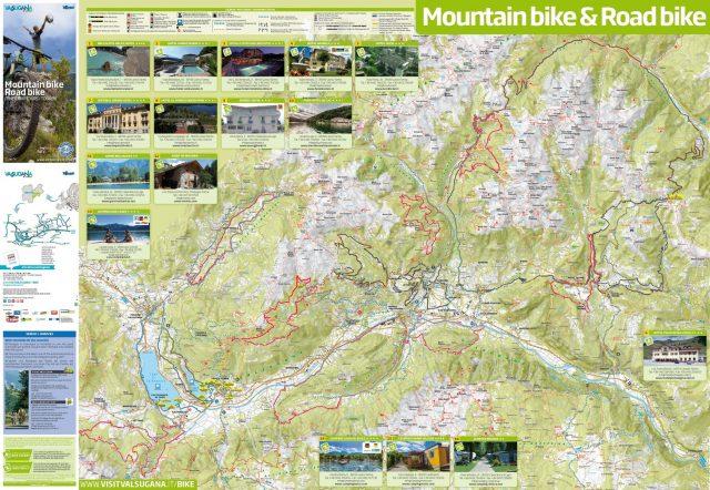 La cartina dei percorsi MTB e road accessibili in Valsugana