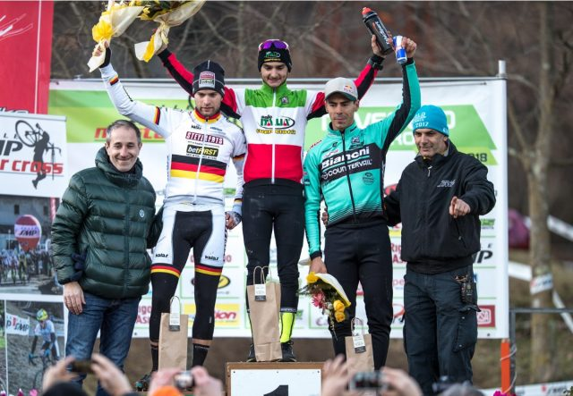 Il podio di Gorizia: Bertolini 1°, Meisen 2°, Fontana 3°