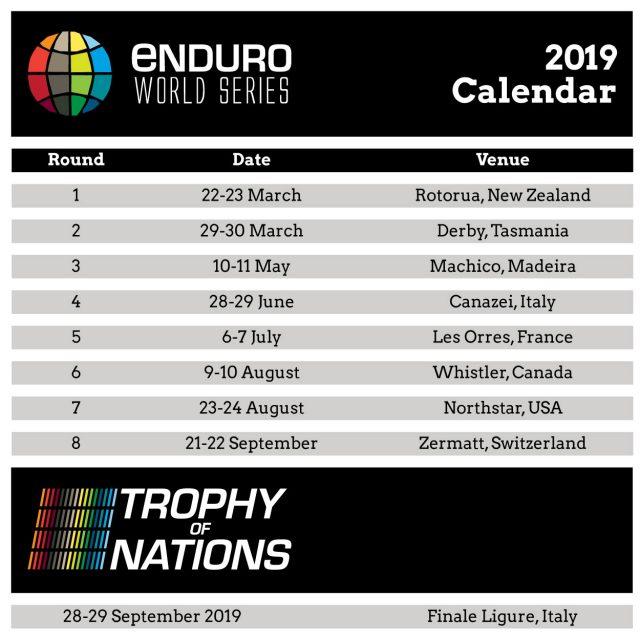Il calendario EWS 2019