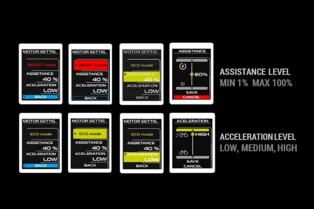 Le impostazioni dei livelli d'assistenza, gestibili dal computer di bordo o tramite l'app per smartphone