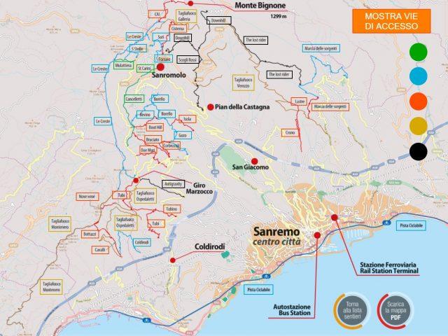 La mappa dei trail enduro di Sanremo Bike Resort