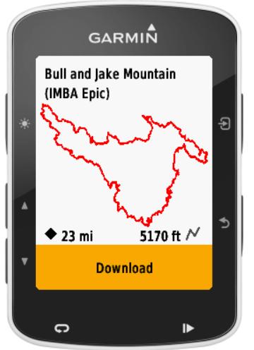 Traccia visualizzata sullo schermo del GPS Garmin Edge compatibile
