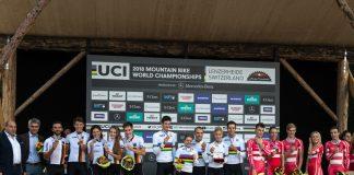 Il podio della gara Team Relay: Svizzera 1^, Germania 2^, Danimarca 3^