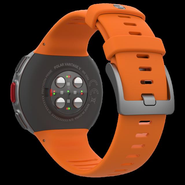 I nuovi Polar Vantage V e M sono dotati della innovativa tecnologia Polar Prime a led con colori differenziati per una maggior precisione di rilevazione della frequenza cardiaca al polso