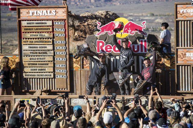 Il podio della Red Bull Rampage 2018: Lacondeguy 2°, Rheeder 1°, Nell 3°