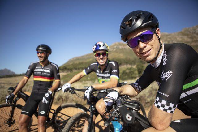 Da sinistra a destra, Manuel Fumic, Henrique Avancini e Maxime Marotte