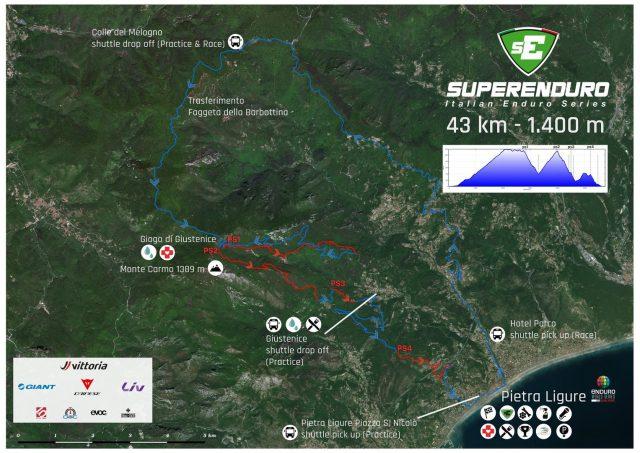 La mappa del percorso gara Superenduro di Pietra Ligure