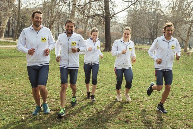 Nel gruppo a sx Daniel Fontana, il grande campione di triathlon special coach del progetto IN'S
