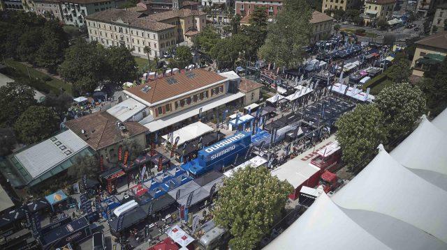 Una veduta aerea dell'area Expo di FSA Bike Festival Garda Trentino che quest'anno è ulteriormente ampliata