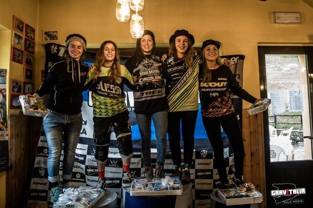 Il podio dell'assoluta femminile a Pian del Poggio 2019