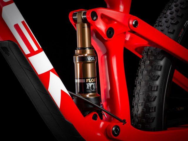 Il cuore del telaio della Trek Top Fuel, con ammortizzatore più lungo e carro rivisto per 115 mm di travel al posteriore
