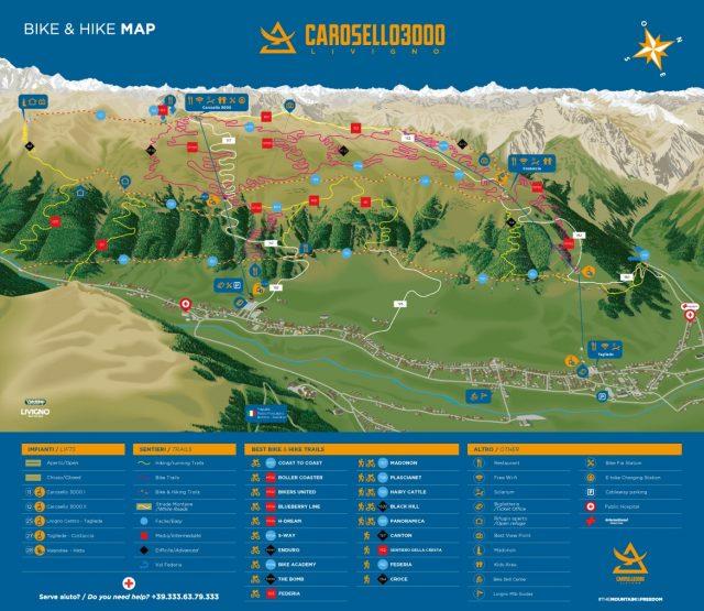 La mappa dei sentieri di Carosello 3000 - Livigno