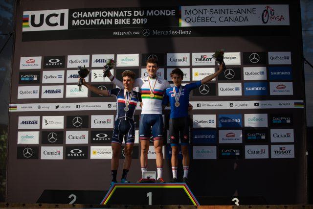 Il podio della gara Men Junior XCO. terzo il nostro Andreas Vittone - foto: ©Michal Cerveny