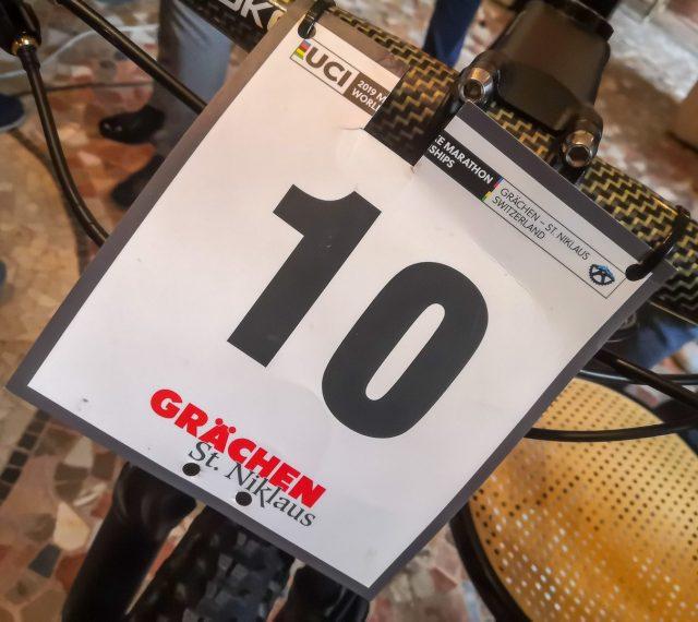 La tabella di gara della bici Giant usata da Leo Paez ai Mondiali Marathon MTB 2019