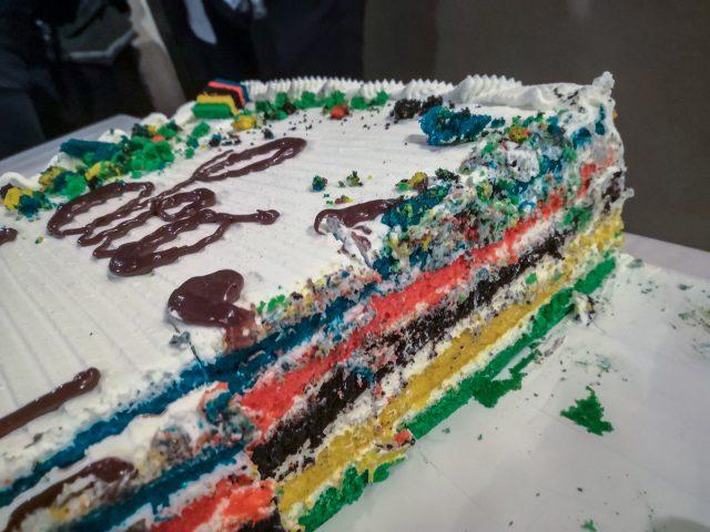 La torta speciale servita alla festa per il titolo iridato di Leo Paez a Monticello SPA