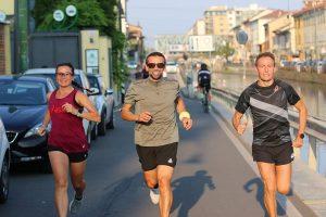 Daniele Milano ieri in azione insiema a Steano Baldini e Carlotta Monntanera di RunningCharlotte.it