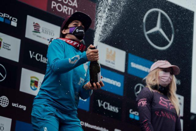 World Cup DH Lousa - Marine Cabirou - podio