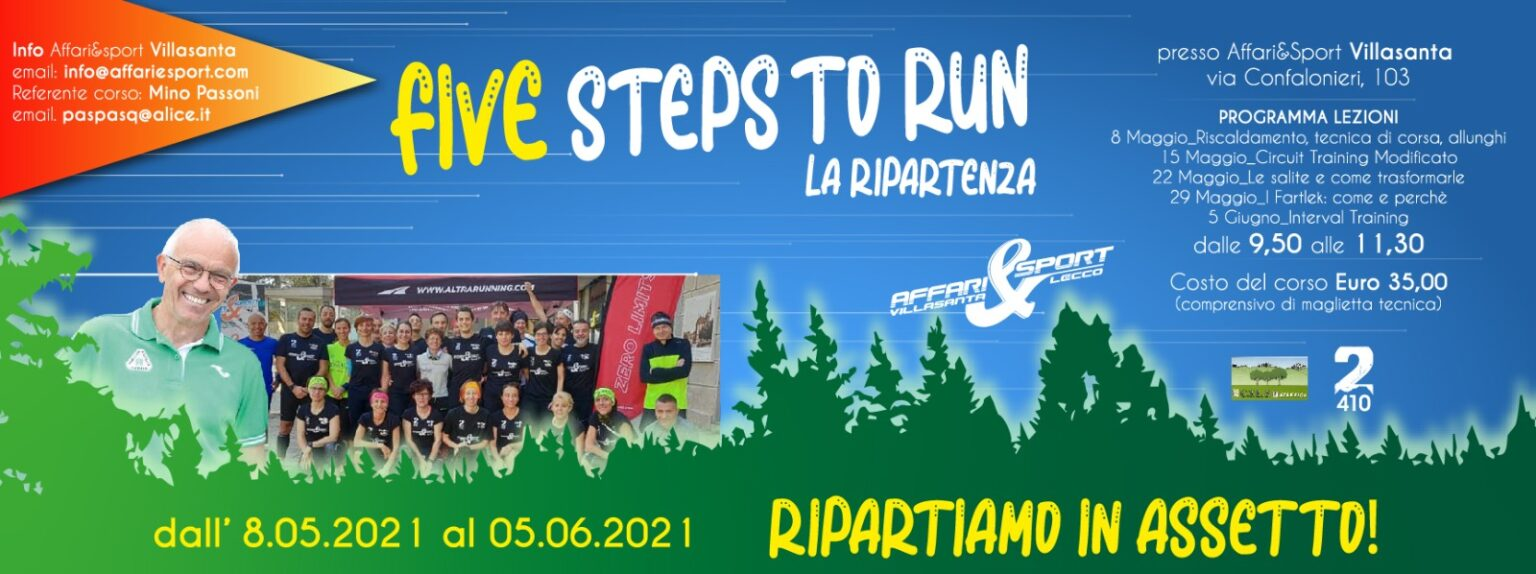 Mino Passoni riparte da Affari&Sport con 5 Five Steps To Run