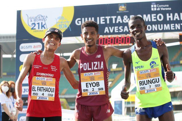 Il podio maschile assoluto della 14^ Giulietta&Romeo Half Marathon