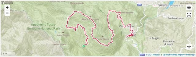 """Secondo giorno 20 km da 1500 a 1800 metri di altitudine: dal rifugio Segheria al Passo di Lama Lite seguendo una forestale tutta in ascesa composta dal """"trittico"""" Passone / Passo di Vallestrina / Bocchetta di Val Calda, tra single track e ampi spazi verdi dove si può ammirare tutta la bellezza di questa parte di Appennino. La Lama Lite è la vetta, alta 1800 metri, che congiunge la dorsale appenninica alla catena del Monte Cusna, come detto all'inizio la seconda cima più alta dell'Emilia Romagna. Arrivati al passo la fa da padrona la natura selvaggia ed incontaminata dell'estremo lembo appenninico del territorio reggiano, che nella solitudine e nel silenzio solenne del crinale fa parlare le cime del Cusna, del Prado e del Monte Vecchio. Il ritorno a Civago è in discesa, prima per il sentiero CAI 681 e poi per il trail chiamato """"Cerbiatto"""", dove è facile incontrare questi animali. L'ultimo tratto in leggera risalita è per una forestale in direzione Passo di Lama Lite fino all'incrocio col sentiero CAI 607, dove inizia la seconda discesa che porta a Civago per il sentiero della Cavallina."""
