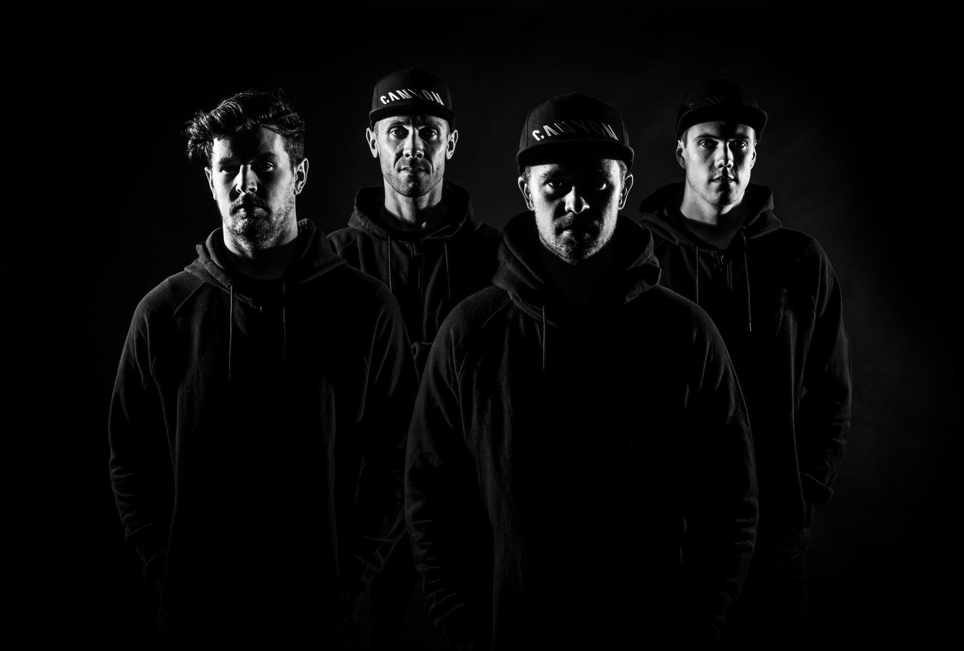Fabien Barel e i tre atleti del team Canyon Factory Downhill